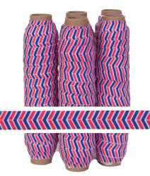 Red & Blue Herringbone Print Fold Over Elastic