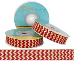 Poppy Red with Gold Metallic Chevron Fold Over Elastic