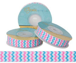Pink and Blue Chevron Fold Over Elastic