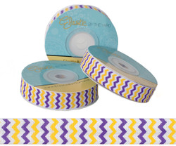 Purple and Yellow Chevron Fold Over Elastic