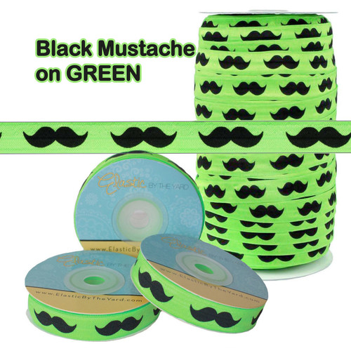 Green with Mustache Fold Over Elastic - Wholesale FOE - Elastic By The Yard TM
