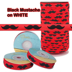 Red with Mustache Fold Over Elastic - Wholesale FOE