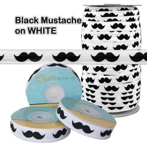 White with Mustache Fold Over Elastic - Elastic FOE
