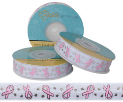 Breast Cancer Ribbon on White Fold Over Elastic