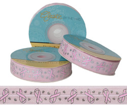 Breast Cancer Ribbon on Pink Fold Over Elastic