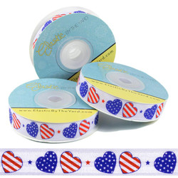 Patriotic Hearts Fold Over Elastic