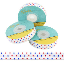 Red and Blue Dots Fold Over Elastic
