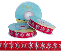 Red and Silver Metallic Snowflake Fold Over Elastic