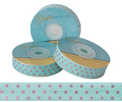 Aqua with Pink Metallic Dots Fold Over Elastic