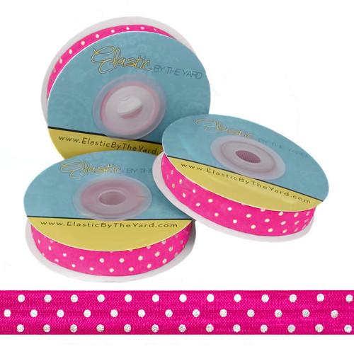 Raspberry Pink with Silver Metallic Dots Fold Over Elastic
