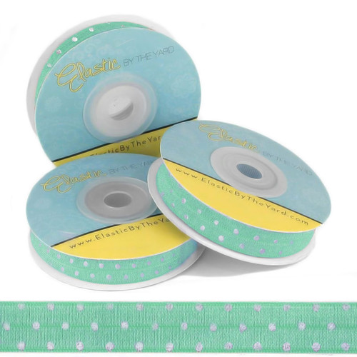 Mint with Silver Metallic Dots Fold Over Elastic