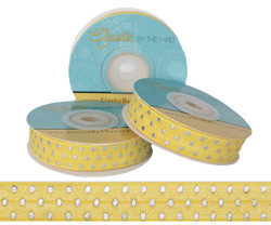 Yellow with Silver Metallic Dots Fold Over Elastic