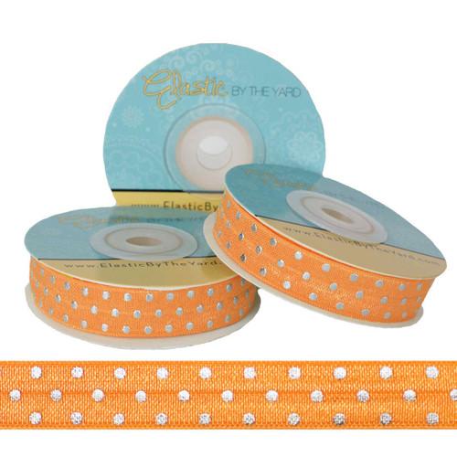 Orange with Silver Metallic Dots Fold Over Elastic