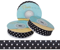 Black with Silver Metallic Dots Fold Over Elastic