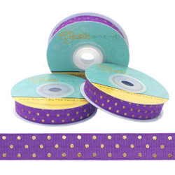 Purple with Gold Metallic Dots Fold Over Elastic