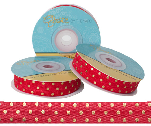 Red with Gold Metallic Dots Fold Over Elastic