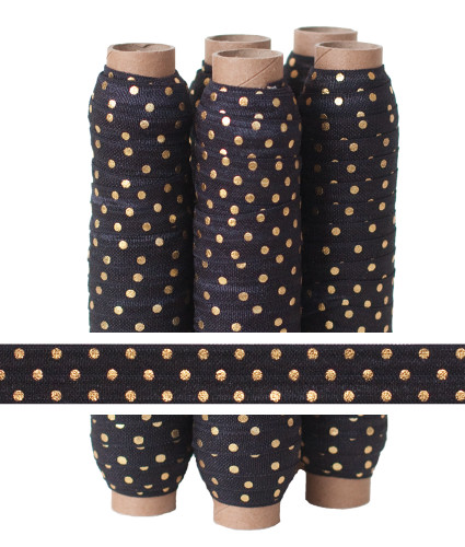 Black with Gold Metallic Dots Fold Over Elastic