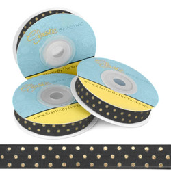 "Black with Gold Metallic Dots 5/8"" Fold Over Elastic"