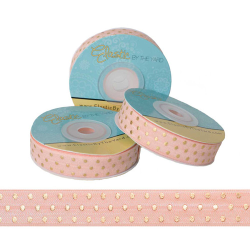 Peach with Gold Metallic Dots Fold Over Elastic
