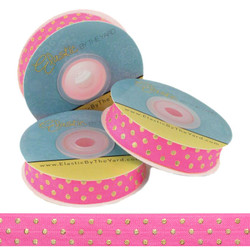 Neon Pink with Gold Metallic Dots Fold Over Elastic