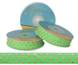 Bright Green with Gold Metallic Dots Fold Over Elastic