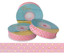 Light Pink with Gold Metallic Dots Fold Over Elastic