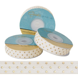 Ivory with Gold Metallic Dots Fold Over Elastic