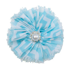 Jennifer Teal Chevron Shabby Chiffon Flower
