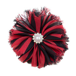 Jennifer Red/Black Shabby Chiffon Flower
