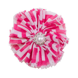 Jennifer Hot Pink Chevron Shabby Chiffon Flower