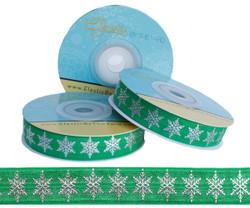 Green and Silver Metallic Snowflake Fold Over Elastic