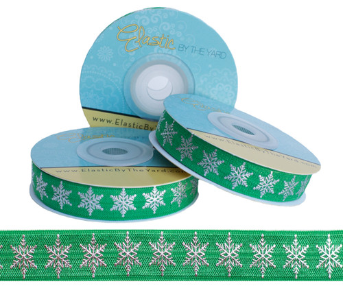 Green and Silver Metallic Snowflake Fold Over Elastic