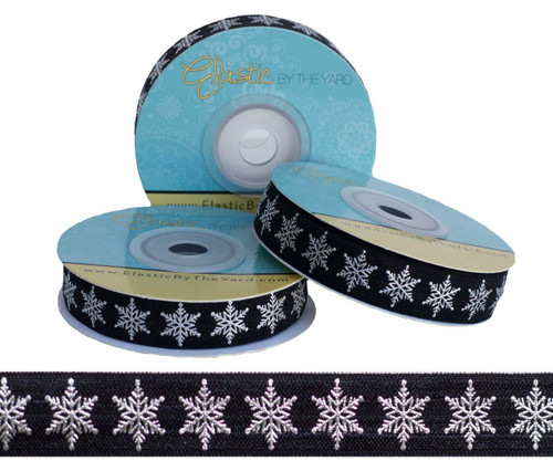 Black and Silver Metallic Snowflake Fold Over Elastic