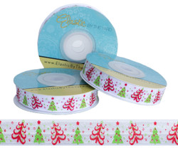 Modern Christmas Tree Fold Over Elastic