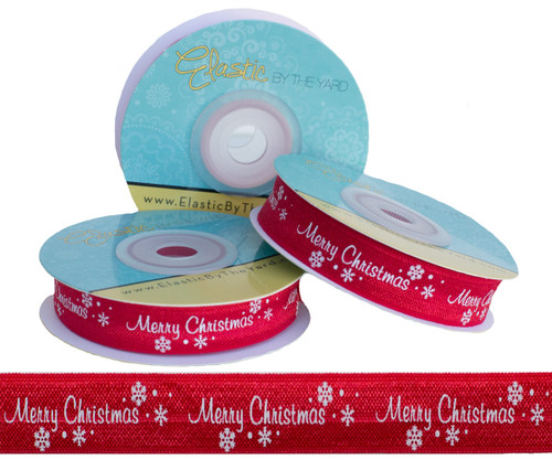 Merry Christmas on Red Fold Over Elastic