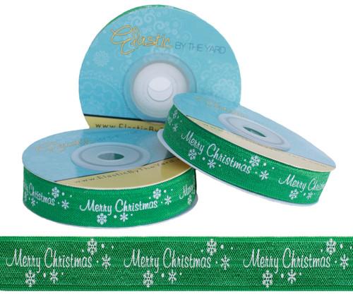Merry Christmas on Green Fold Over Elastic