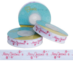 Merry Christmas on White Fold Over Elastic