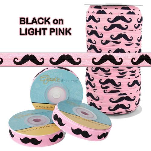 Light Pink w/ Black Mustache Fold Over Elastic
