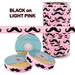 Light Pink w/ Black Mustache Fold Over Elastic
