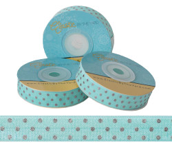 Aqua with Silver Metallic Dots Fold Over Elastic