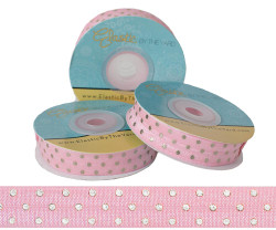 Light Pink with Silver Metallic Dots Fold Over Elastic