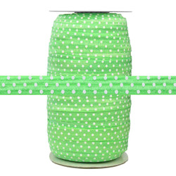 """Green with White Polka Dots Wholesale 5/8"""" Fold Over Elastic 100yd"""