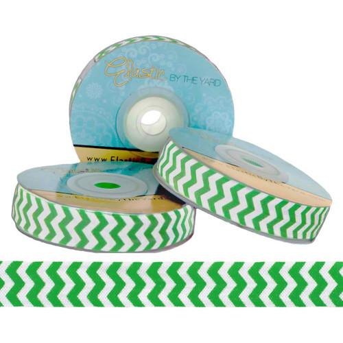 Green and White Chevron Print Fold Over Elastic