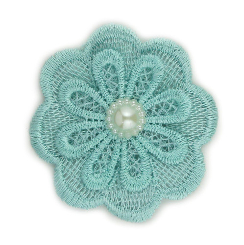 Aqua Lace Pearl Flower 2.5""