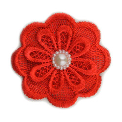 Red Lace Pearl Flower 2.5""