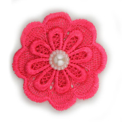 Hot Pink Lace Pearl Flower 2.5""