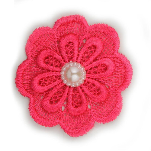 """Hot Pink Lace Pearl Flower 2.5"""""""
