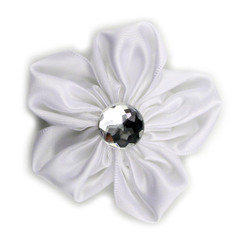 White Satin Flower 2.5""