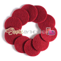 "1 1/4"" Red NON Adhesive Felt Circles 10 Pack"
