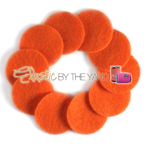 "1 1/4"" Orange NON Adhesive Felt Circles 10 Pack"